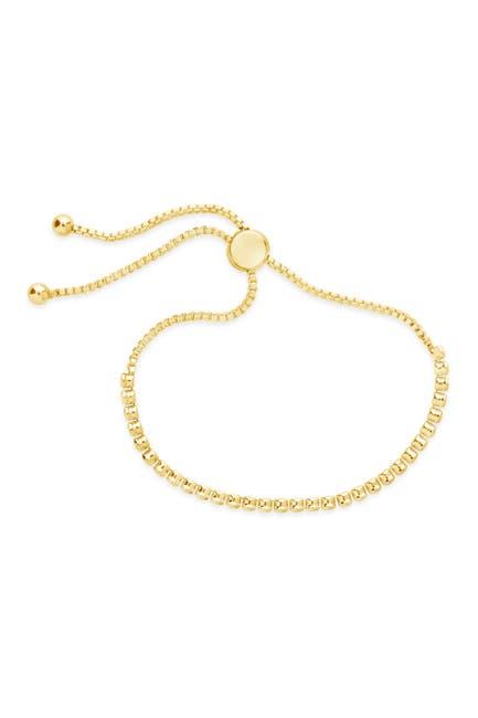 Image of Sterling Forever 14K Gold Plated Brass Bezel CZ Adjustable Bracelet