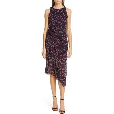Dvf Maia Asymmetrical Mesh Sheath Dress, Black