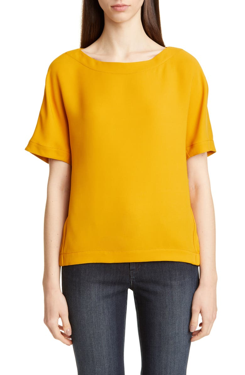 LAFAYETTE 148 NEW YORK Palatina Silk Blouse, Main, color, SUNFLOWER