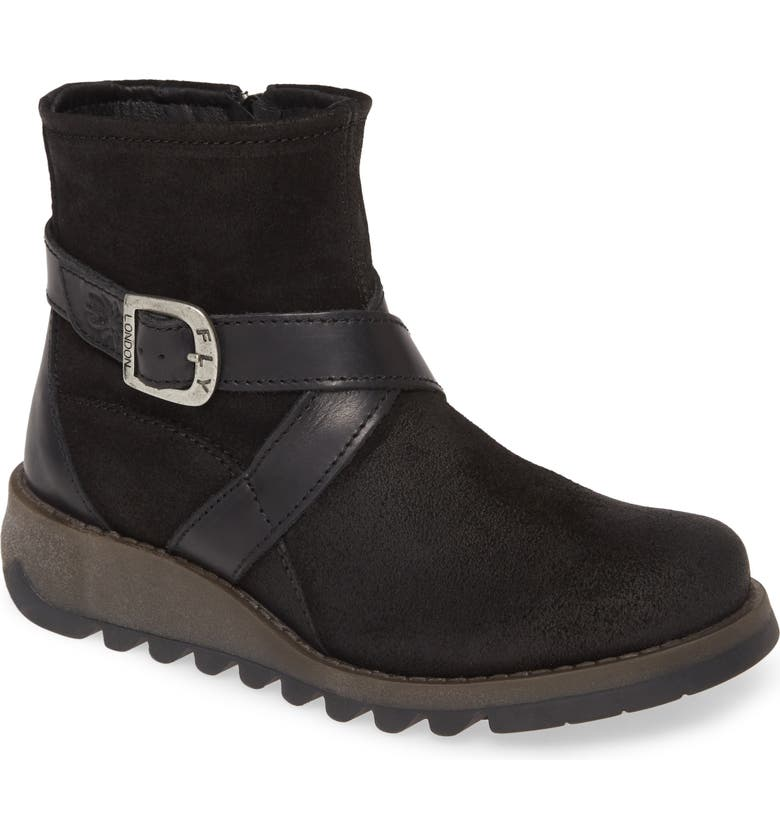 FLY LONDON Sake Bootie, Main, color, BLACK LEATHER