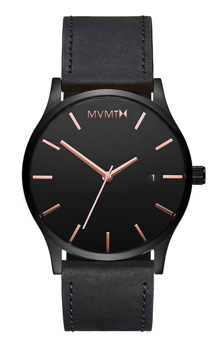 MVMT The Classic Leather Strap Watch, 45mm, Main, color, 710