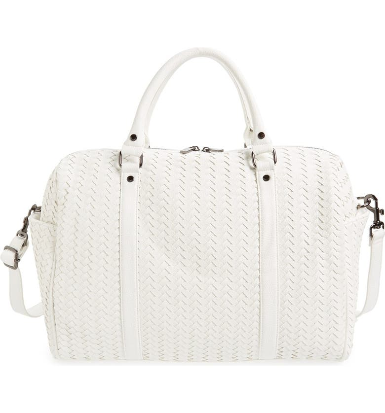 DEUX LUX 'Crosby' Woven Faux Leather Weekend Duffel, Main, color, 100