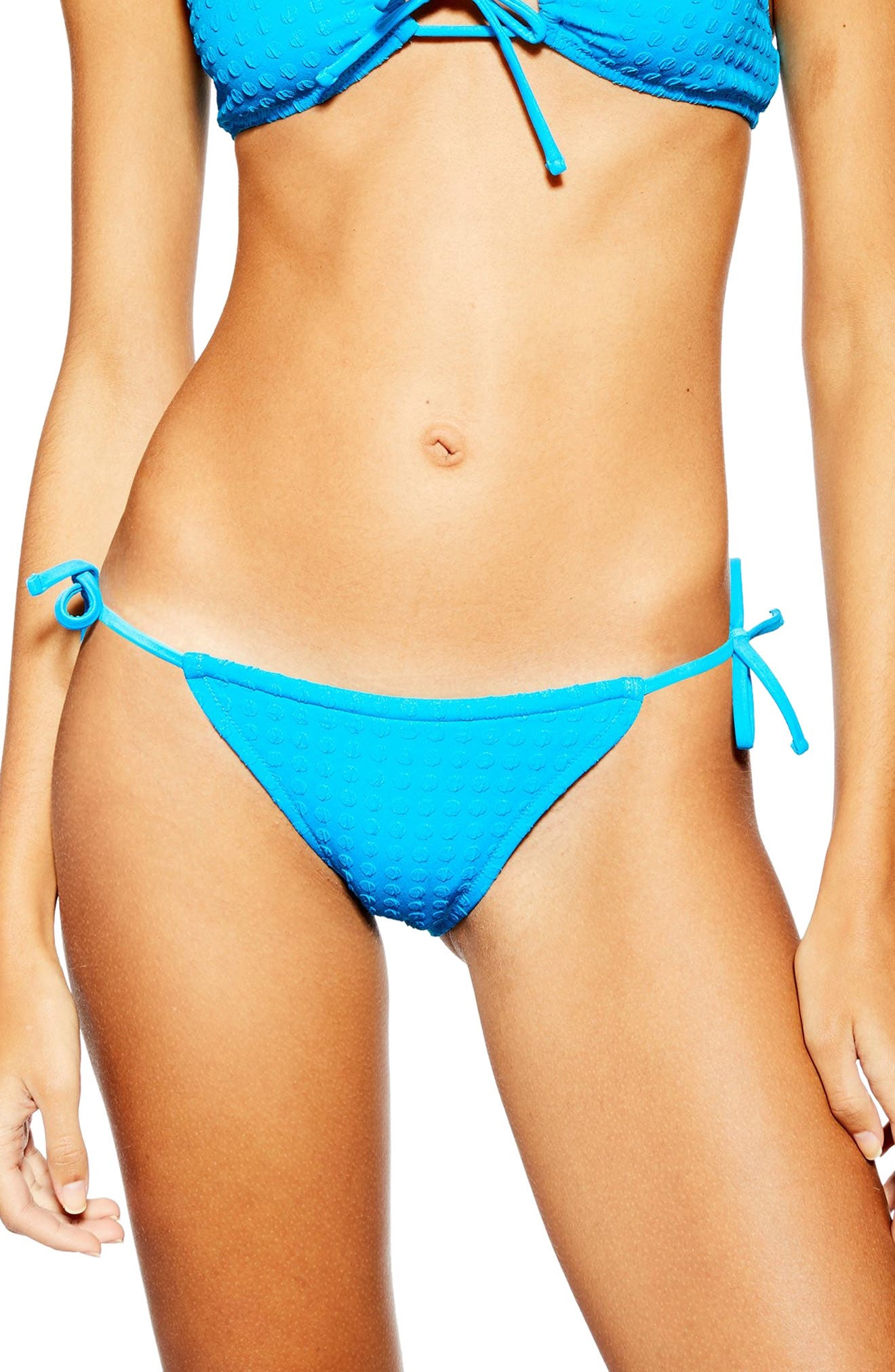 Topshop Seersucker Bikini Bottoms, US (fits like 10-12) - Blue