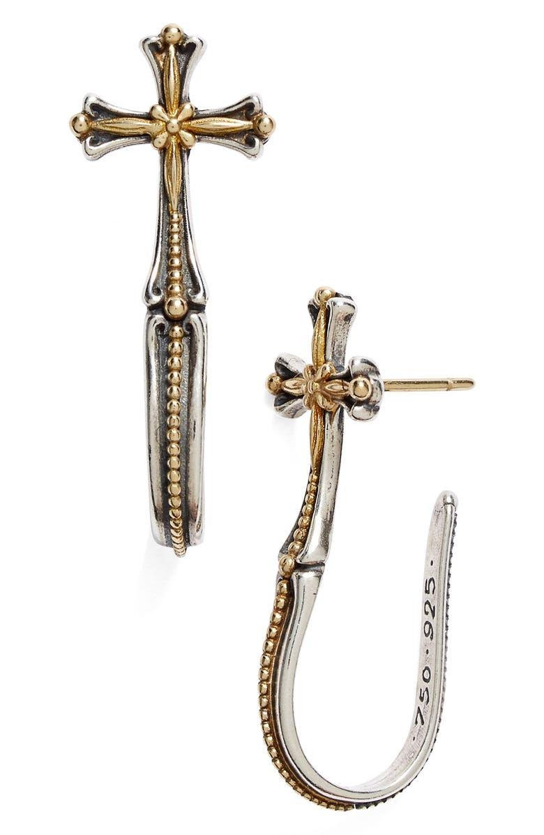KONSTANTINO 'Hebe' Cross J-Hoop Earrings, Main, color, SILVER/ GOLD
