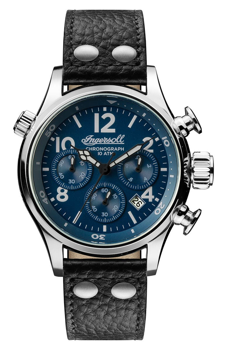 INGERSOLL Chronograph Leather Strap Watch, 46mm, Main, color, 001