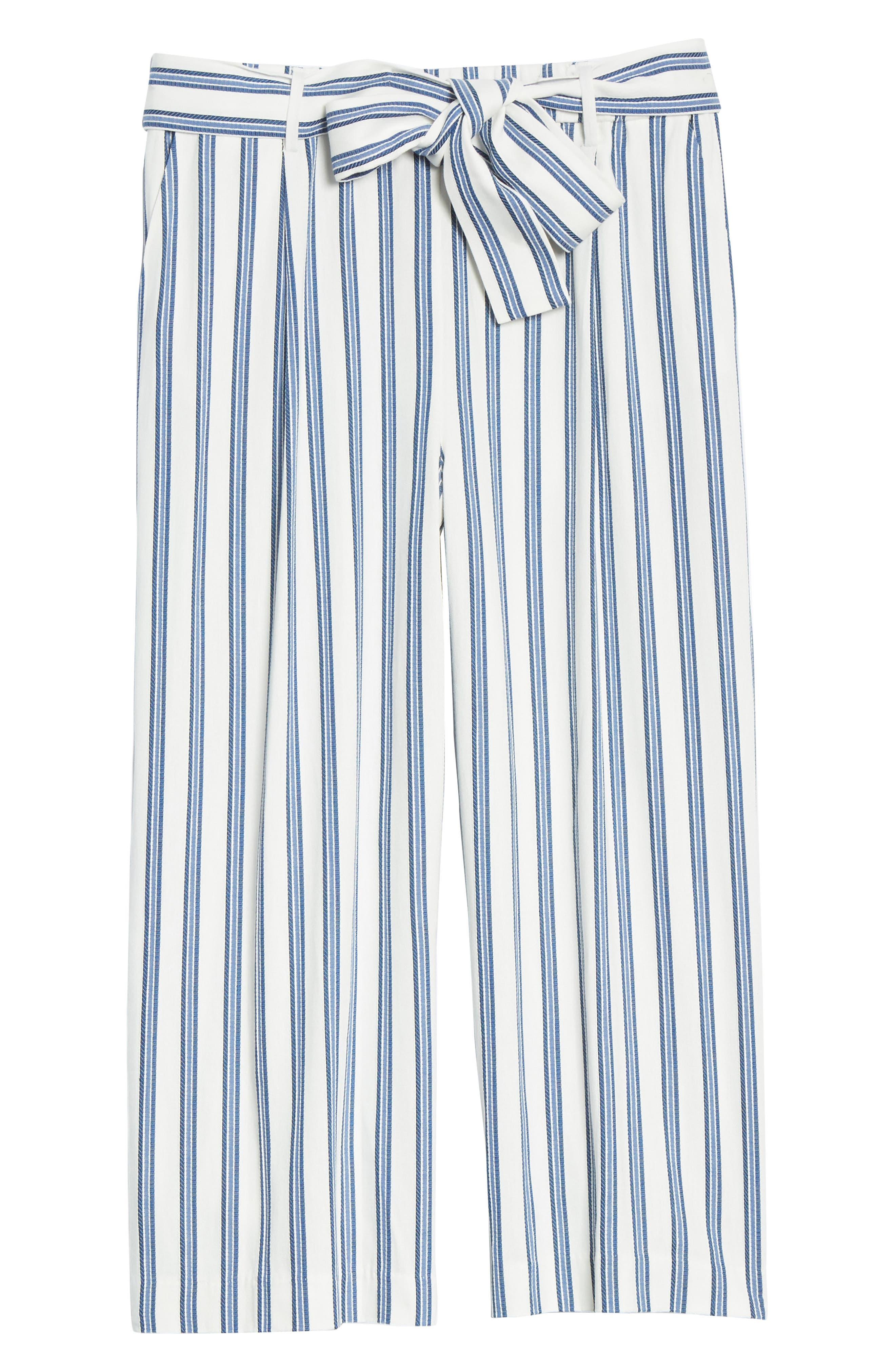 HalogenR Plus  Women's Halogen Stripe Tie Waist Wide Leg Pants,  1X - Ivory