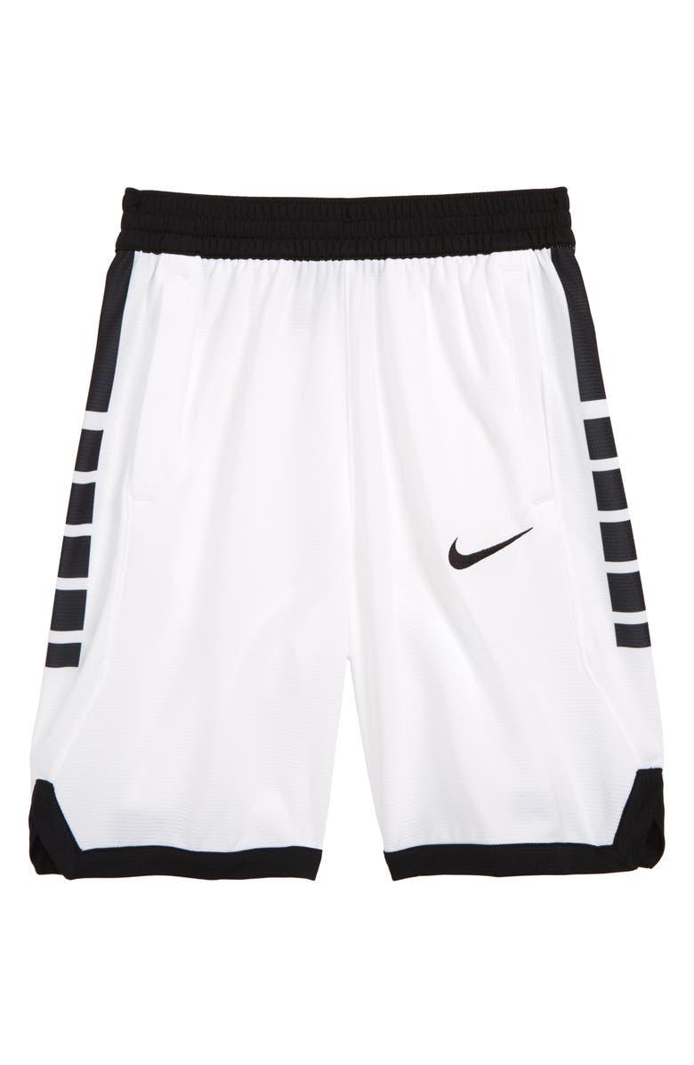 NIKE Dry Elite Basketball Shorts, Main, color, WHITE/ BLACK