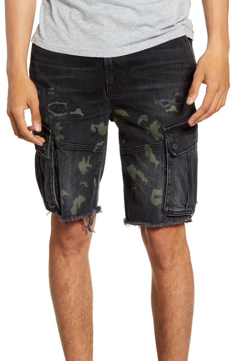 HUDSON JEANS Cut Off Denim Cargo Shorts, Main, color, BLACK CAMO