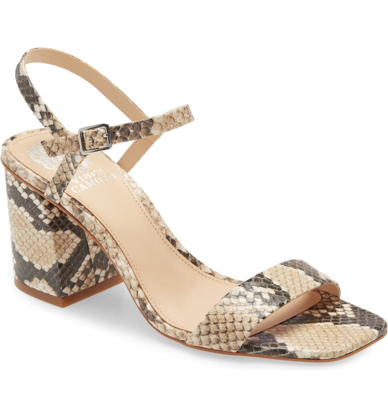 VINCE CAMUTO Nendan Sandal, Main, color, SHORTBREAD SNAKE PRINT LEATHER