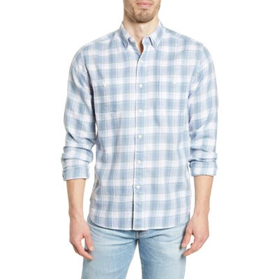 Faherty Beach Plaid Flannel Button-Up Shirt, Blue