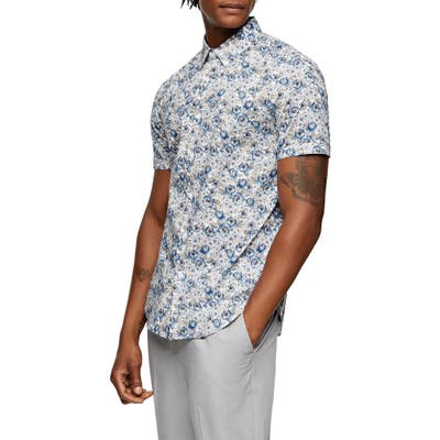 Topman Floral Short Sleeve Button-Up Shirt, White