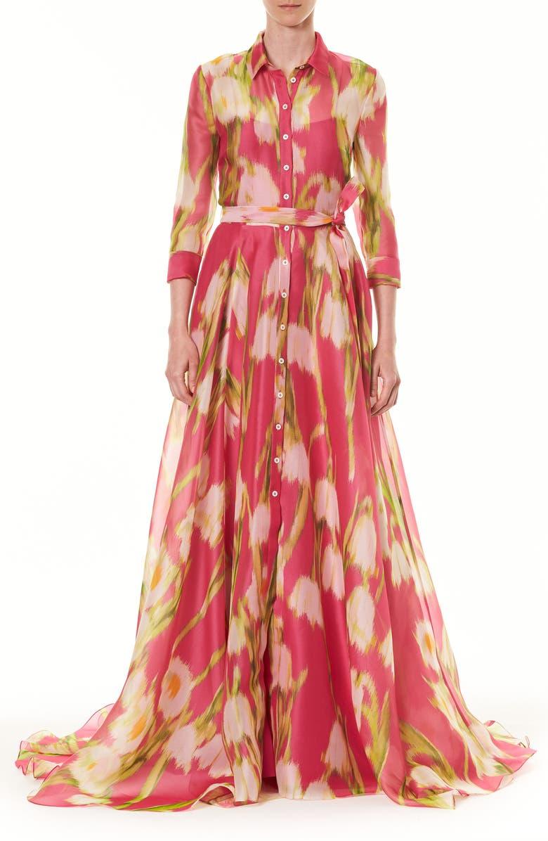 CAROLINA HERRERA Floral Long Sleeve Silk Shirt Gown, Main, color, 650