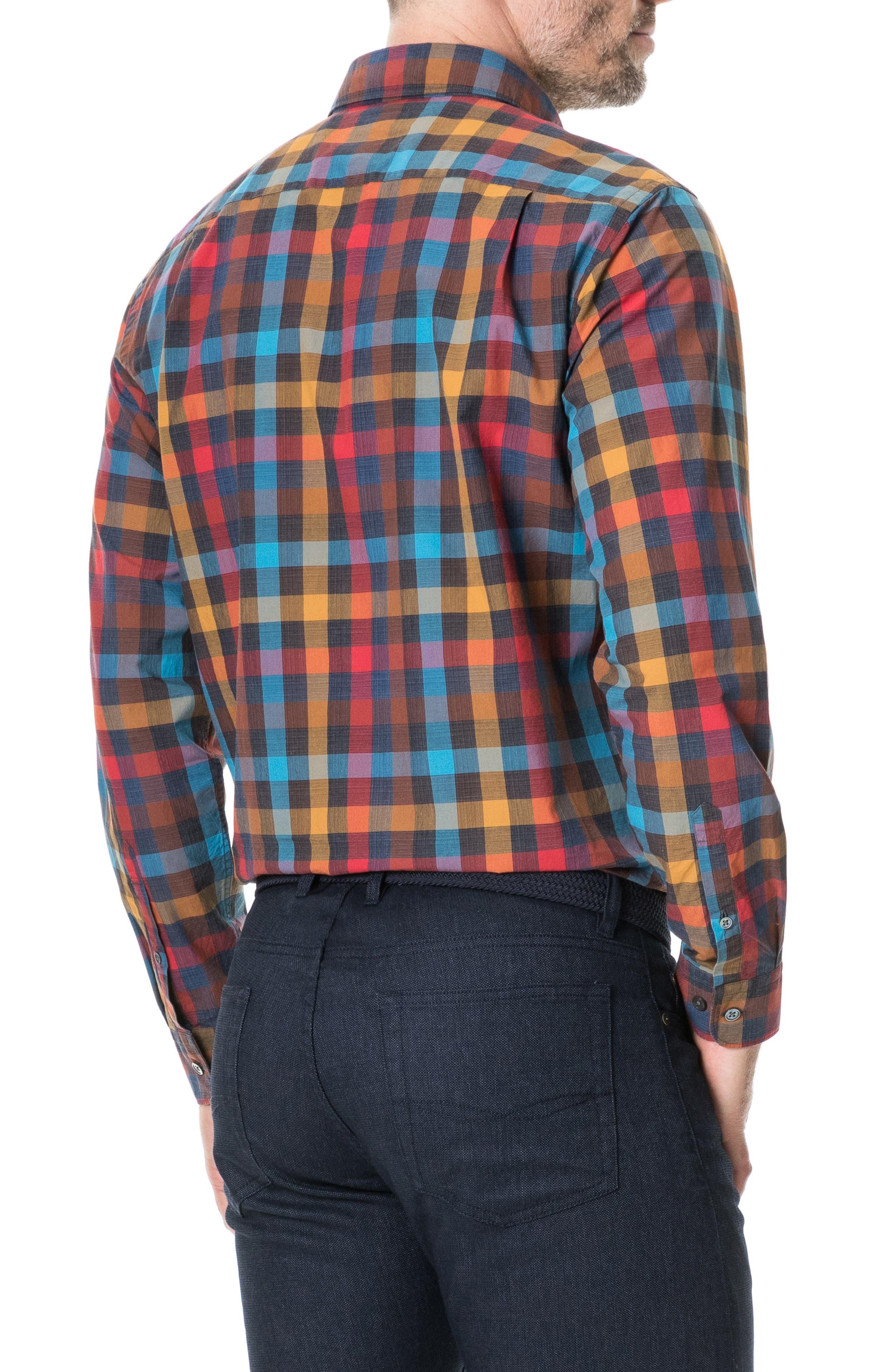 ,                             Ridgelands Regular Fit Check Sport Shirt,                             Alternate thumbnail 3, color,                             CORAL REEF