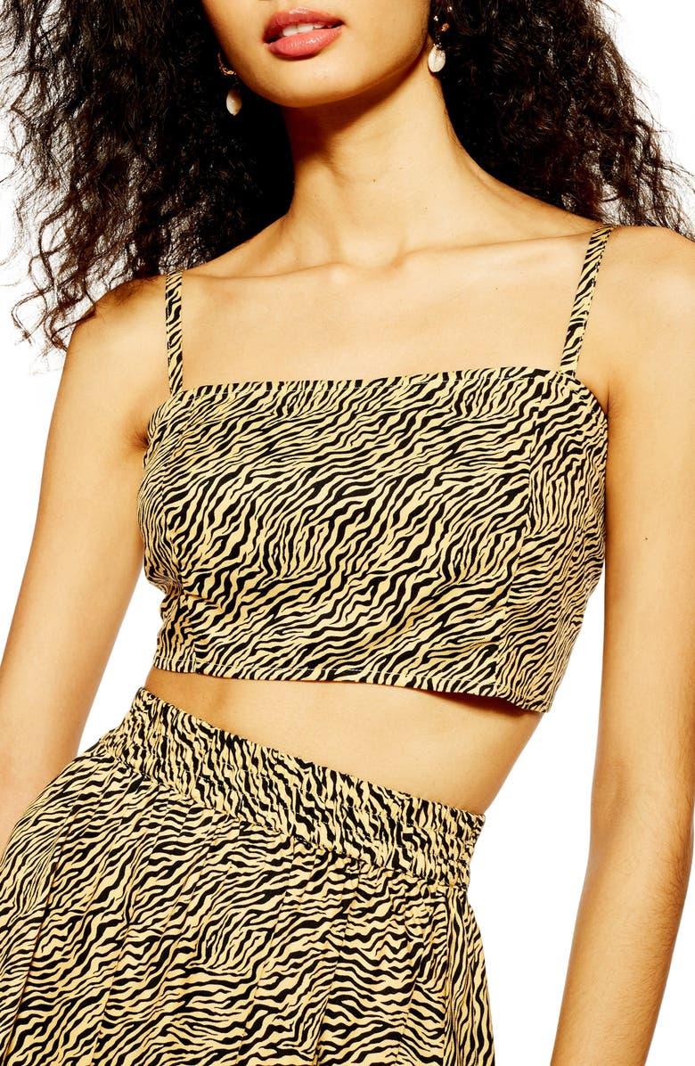 TOPSHOP Tiger Print Bralette, Main, color, 001