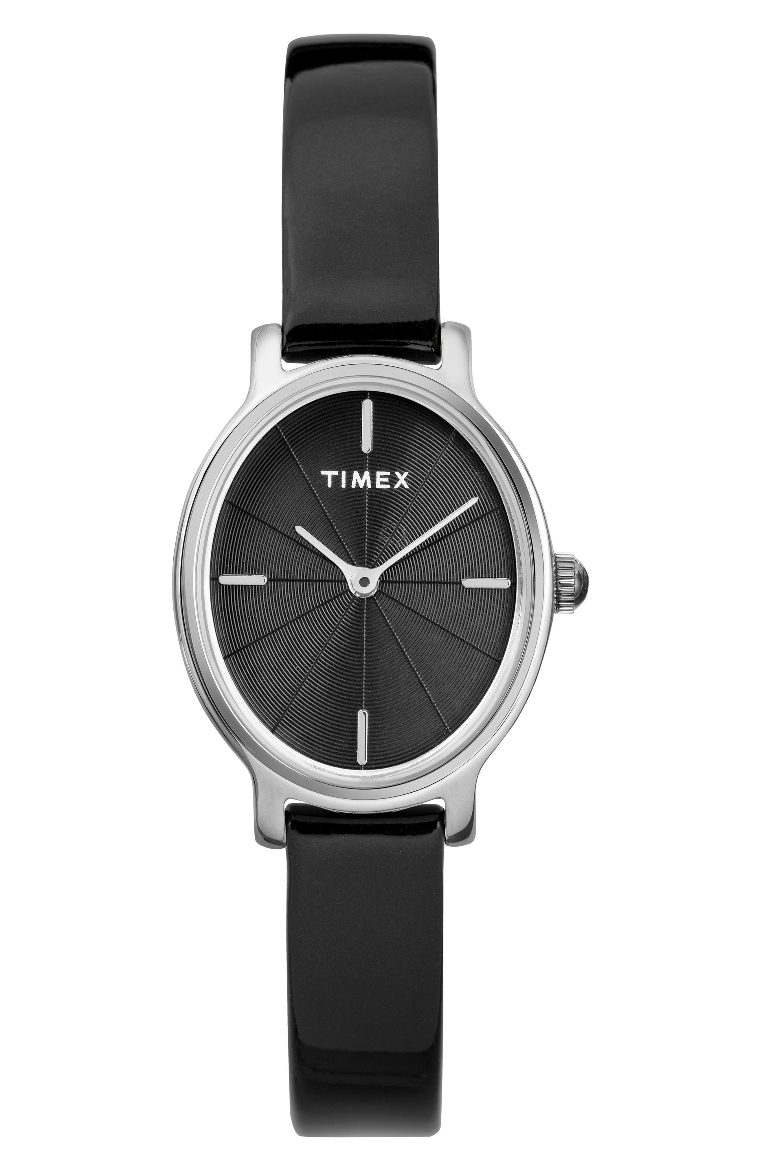 Timex Milano Oval Leather Strap Watch, 2m