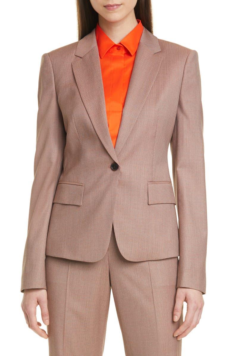 BOSS Jaxtina Check Wool Jacket, Main, color, SPICE FANTASY