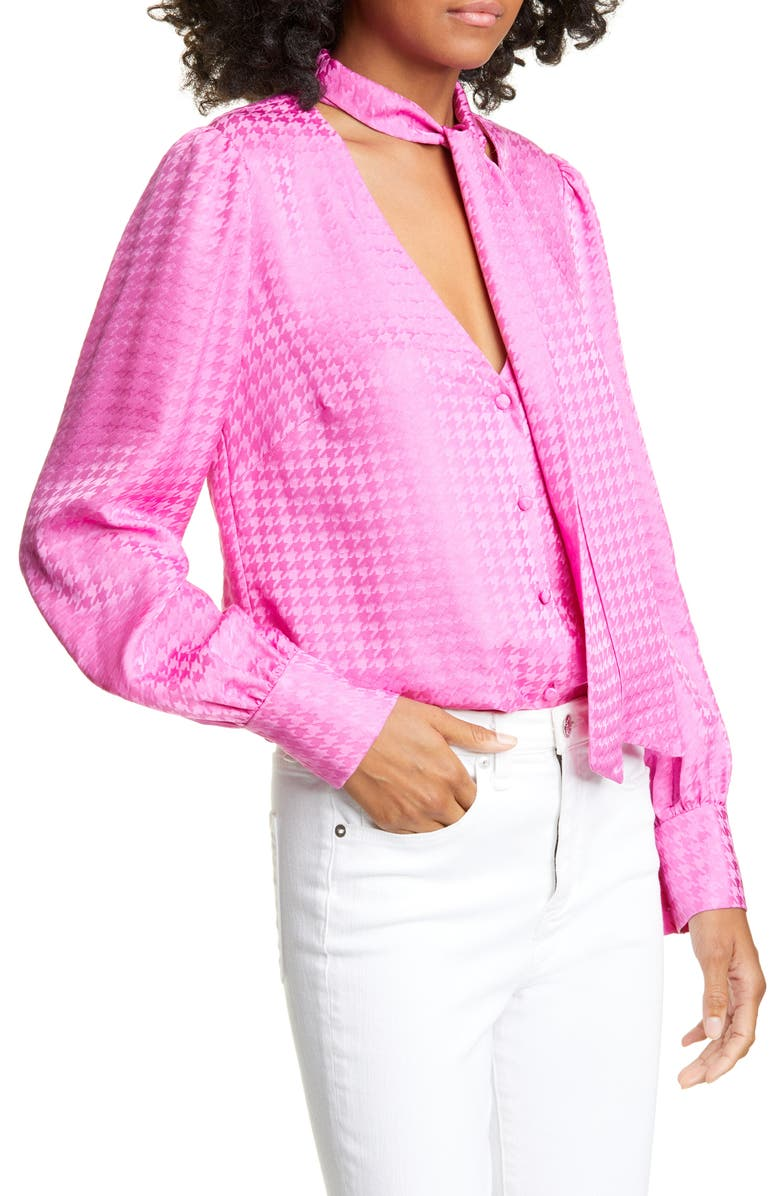 VERONICA BEARD Nicky Tie Neck Houndstooth Jacquard Silk Top, Main, color, PINK
