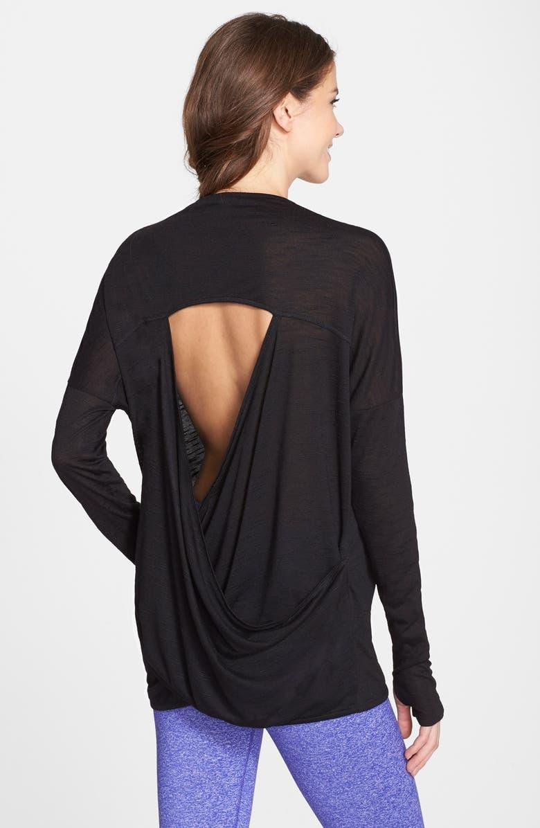 ZELLA 'Athena' Open Back Drape Cardigan, Main, color, 001