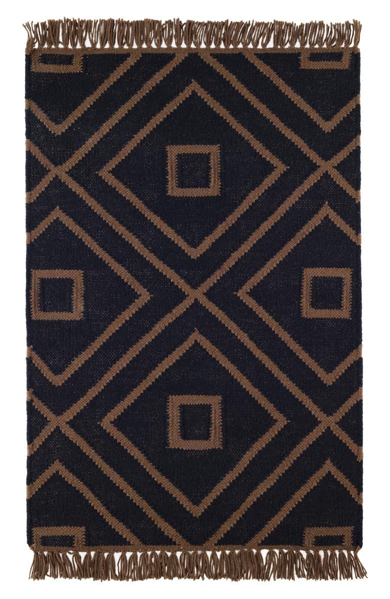 DASH & ALBERT Mali Indoor/Outdoor Rug, Main, color, BLACK