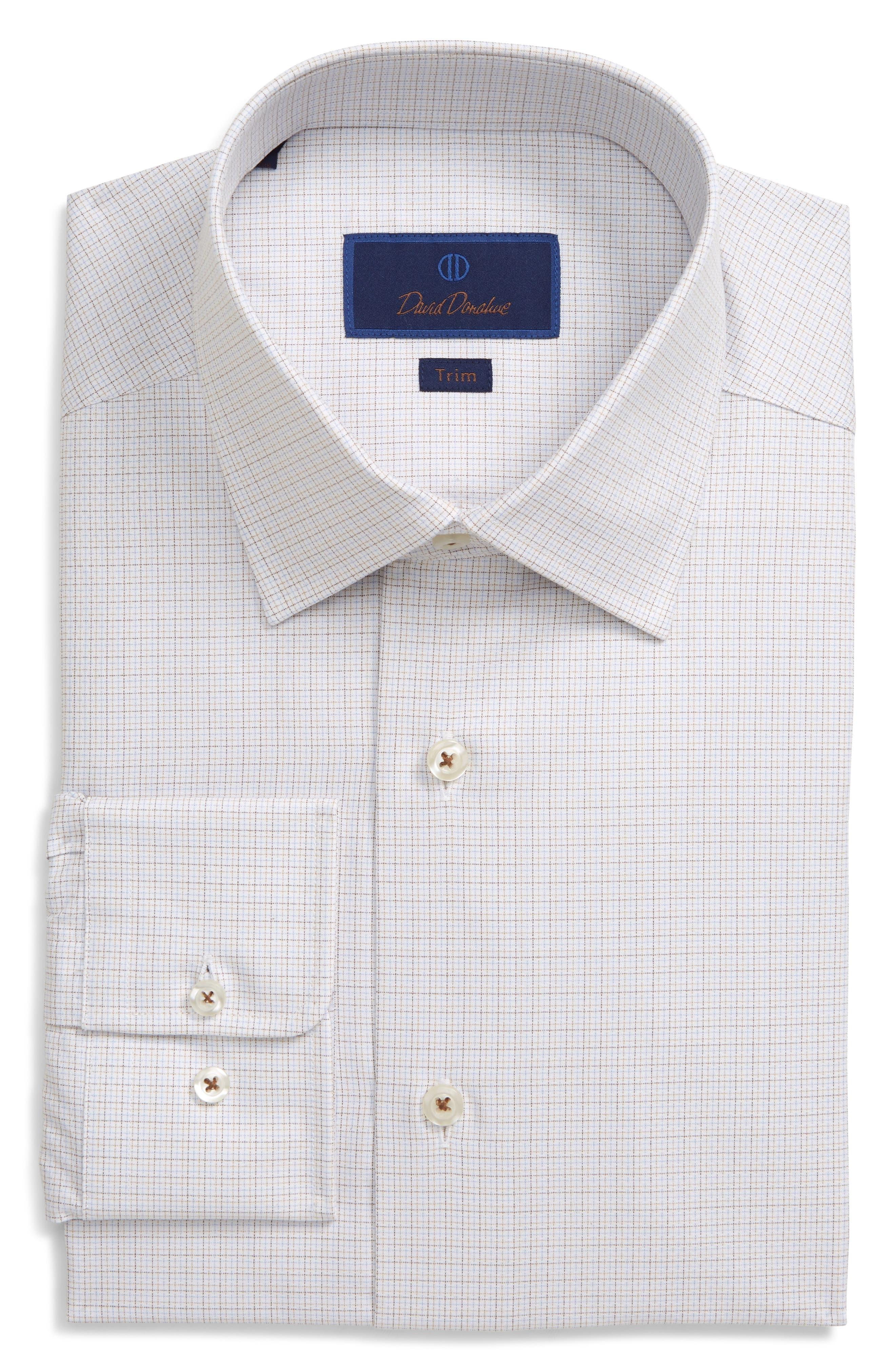 Image of David Donahue Trim Fit Plaid Dress Shirt