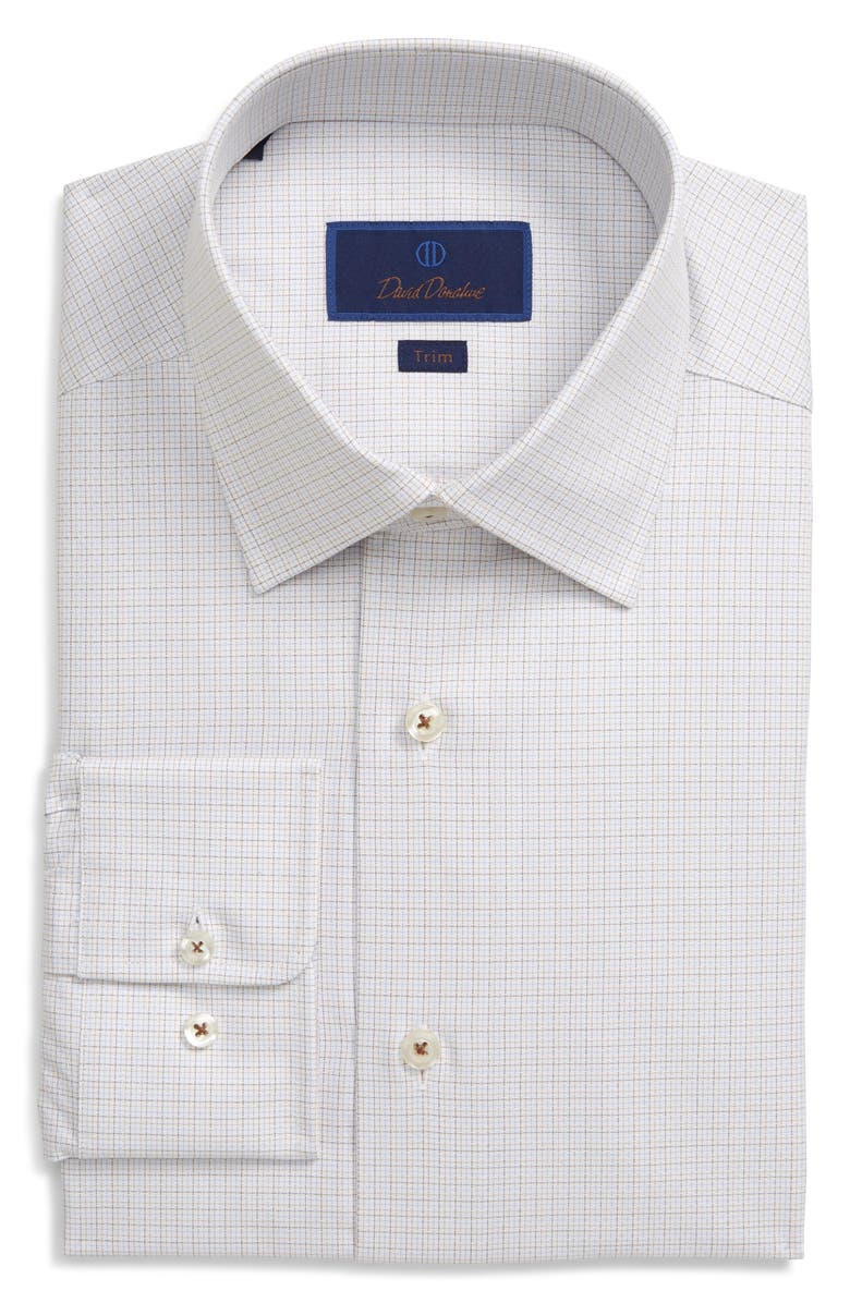 DAVID DONAHUE Trim Fit Check Dress Shirt, Main, color, BARK