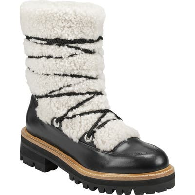 Marc Fisher Ltd Isha Genuine Shearling Hiking Boot, Black