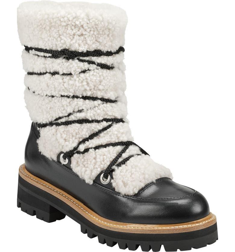 MARC FISHER LTD Isha Genuine Shearling Hiking Boot, Main, color, NATURAL/ BLACK