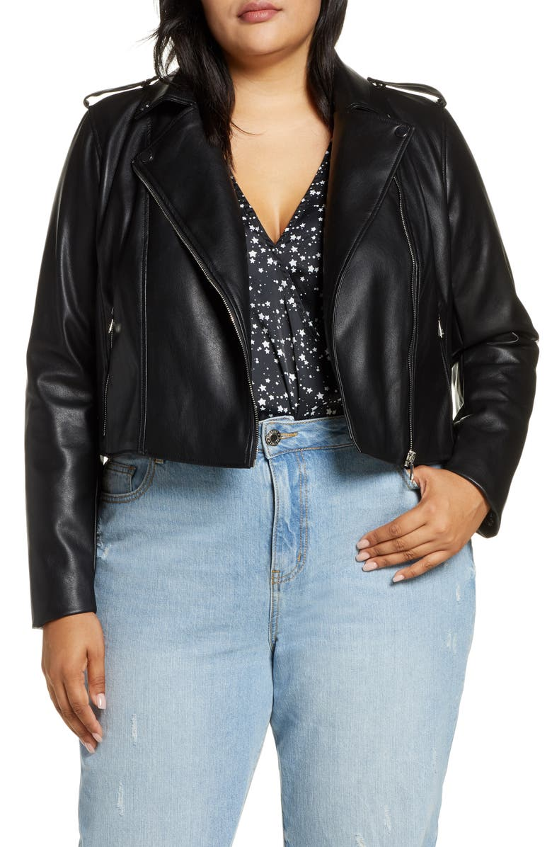 ELOQUII R29 x ELOQUII Crop Moto Jacket, Main, color, BLACK W/ WEEKEND GETAWAY