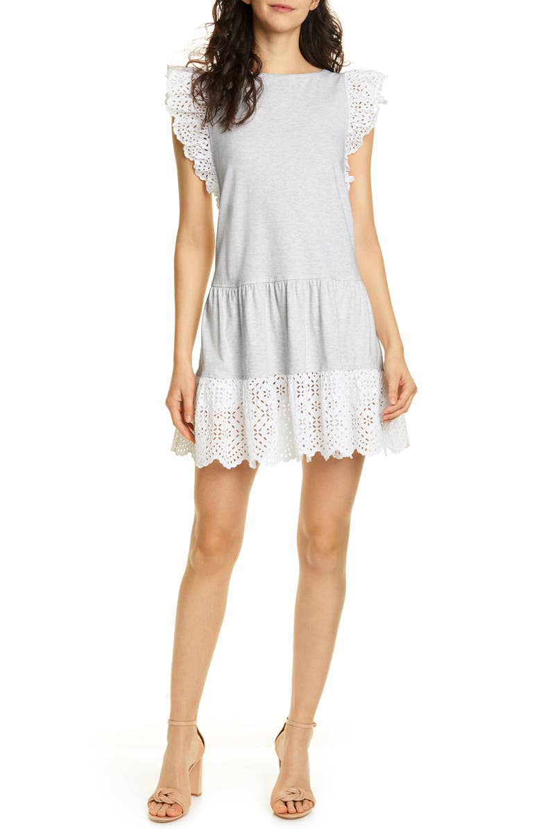 LA VIE REBECCA TAYLOR Agatha Eyelet Detail Cotton Jersey Dress, Main, color, GREY HEATHER/ MILK