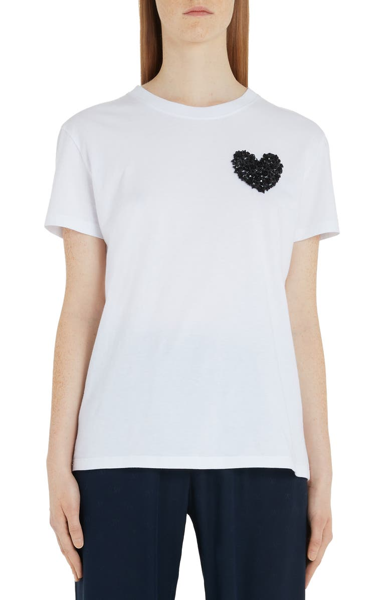 VALENTINO Embroidered Heart Cotton Tee, Main, color, A01-WHITE/ BLACK