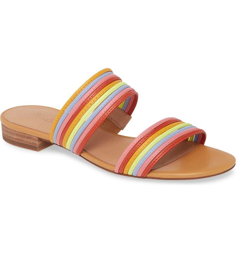 MADEWELL The Meg Slide Sandal, Main, color, PINK MULTI LEATHER