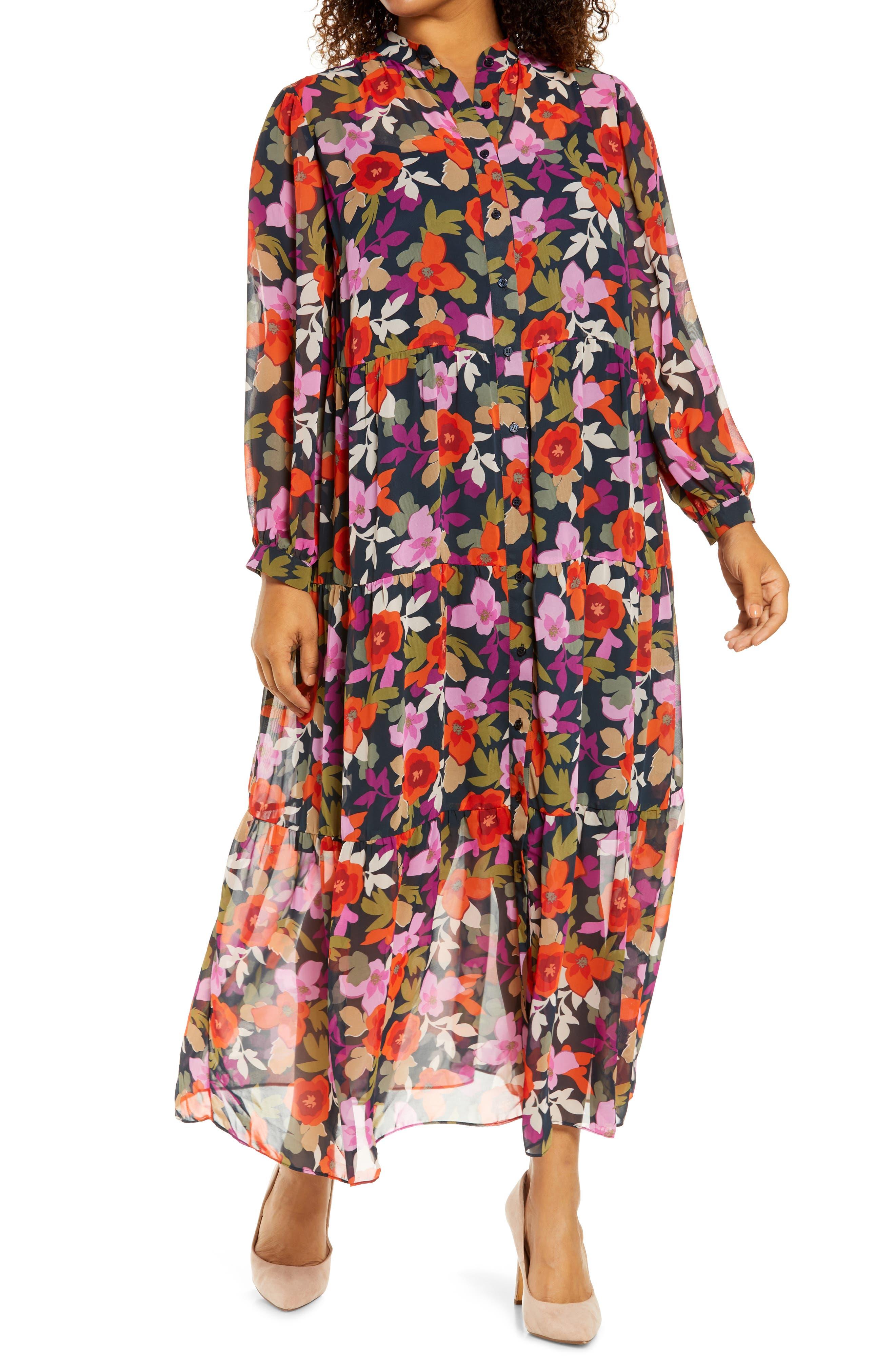 Bold Floral Long Sleeve Shirtdress
