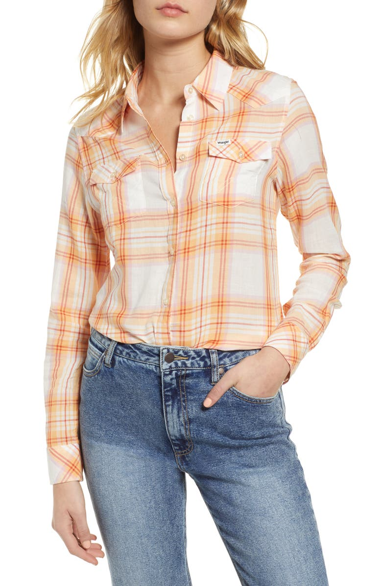 WRANGLER Western Plaid Shirt, Main, color, 800