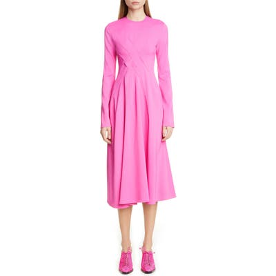 Sies Marjan Crisscross Detail Long Sleeve Midi Dress, Pink
