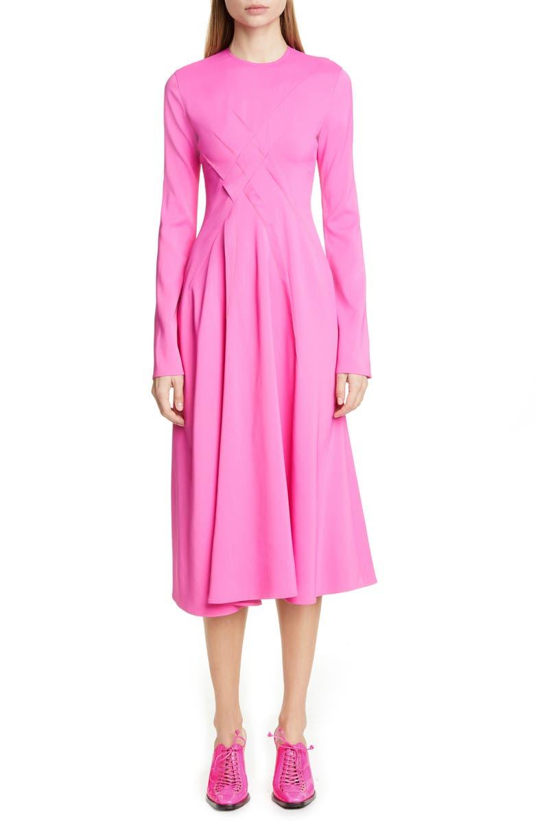 SIES MARJAN Crisscross Detail Long Sleeve Midi Dress, Main, color, FLUO PINK