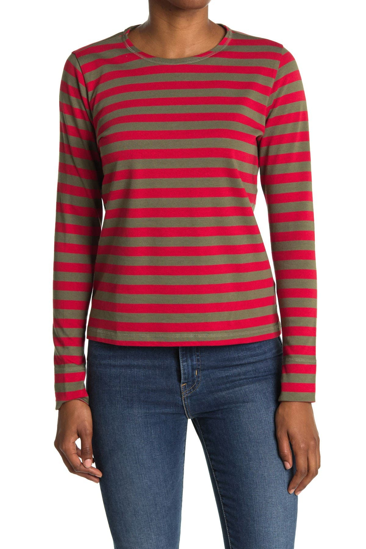 Image of GANNI Striped Cotton Jersey Pullover