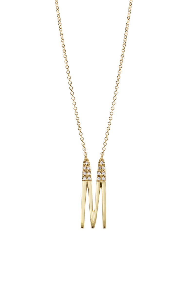 BONY LEVY Diamond Initial Pendant Necklace, Main, color, YELLOW GOLD-M