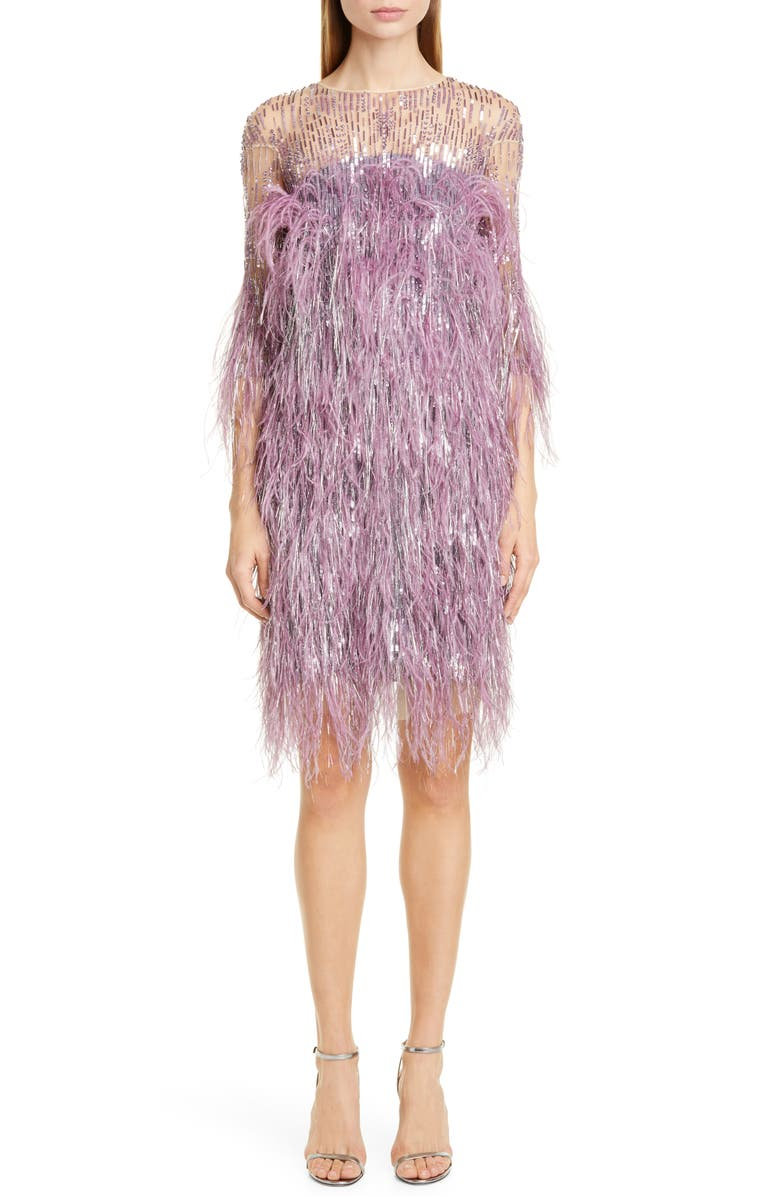 PAMELLA ROLAND Lilac Crystal & Sequin Embroidered Cocktail Dress, Main, color, LILAC