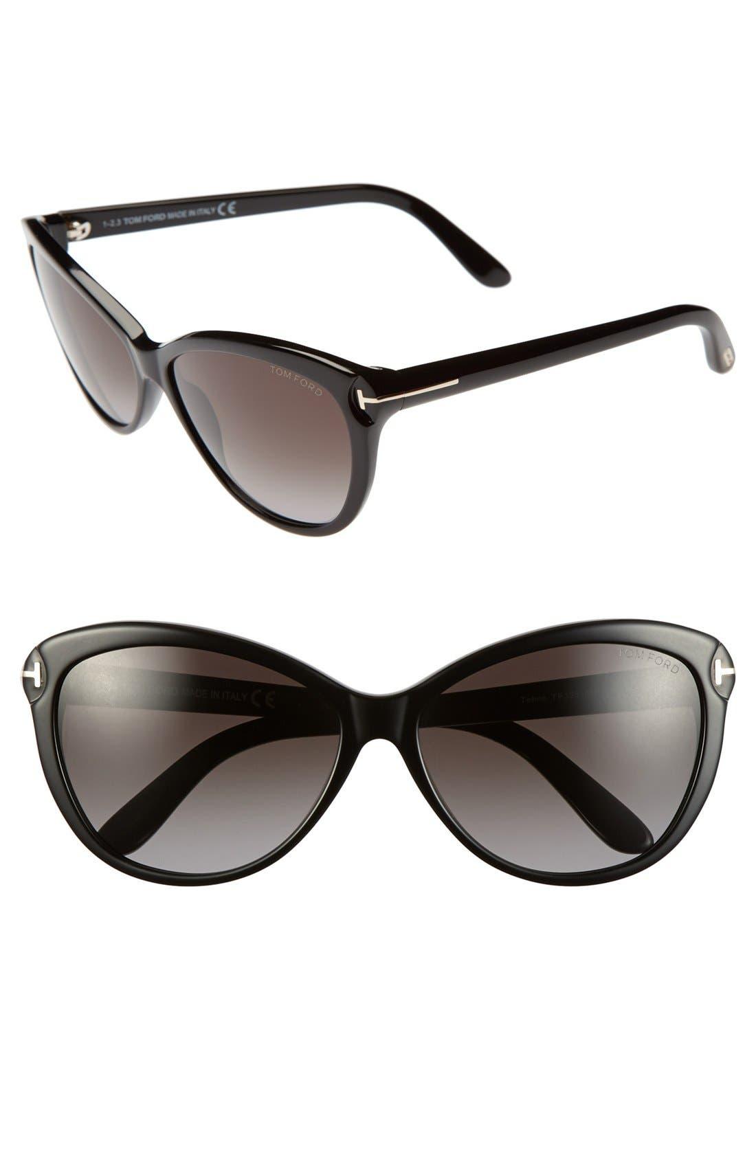 ,                             'Telma' 60mm Cat Eye Sunglasses,                             Main thumbnail 1, color,                             001