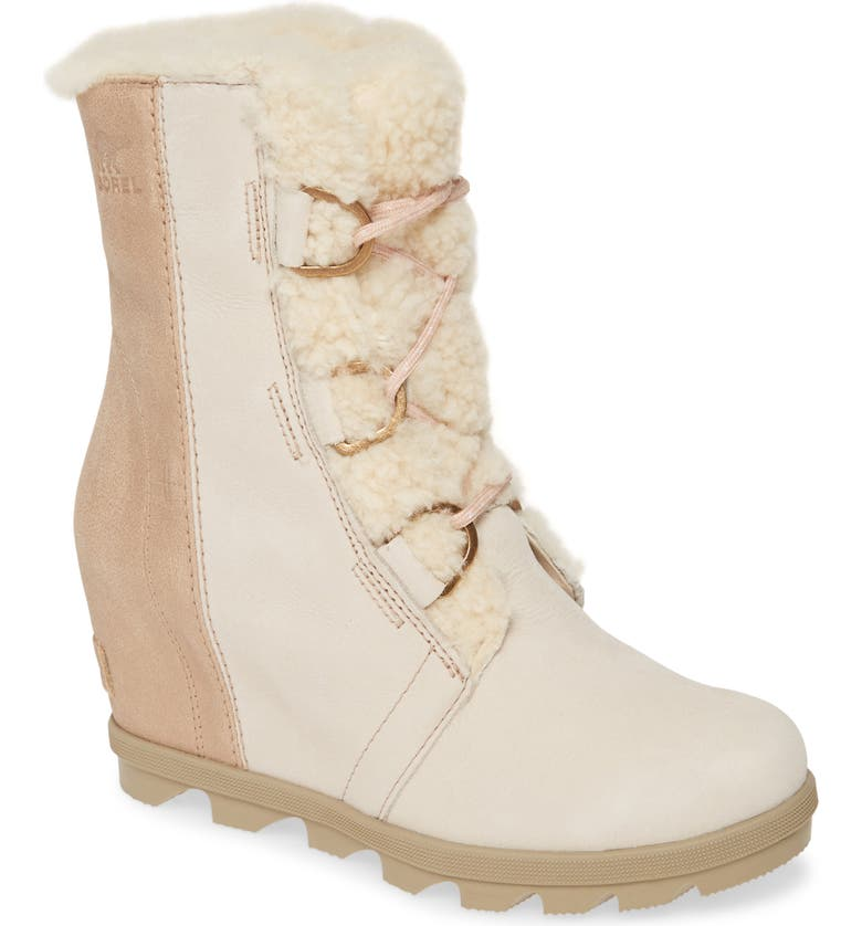 SOREL Joan of Arctic II Lux Wedge Genuine Shearling Bootie, Main, color, NATURAL LEATHER