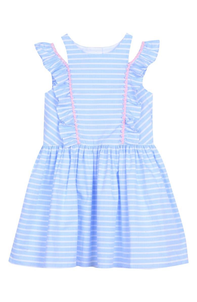PASTOURELLE BY PIPPA & JULIE Stripe Cold Shoulder Dress, Main, color, 402