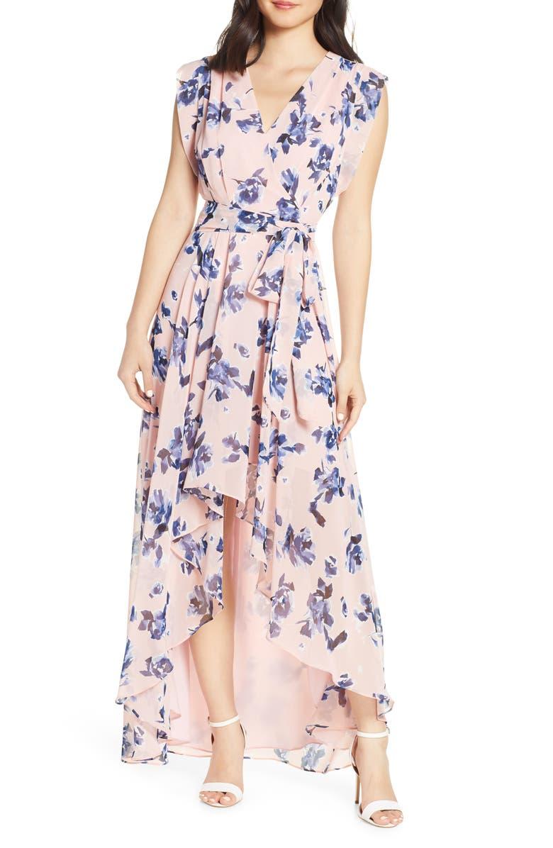 ELIZA J Floral Chiffon High/Low Maxi Dress, Main, color, 684