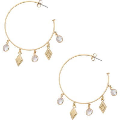 Ettika Cubic Zirconia Charm Hoop Earrings