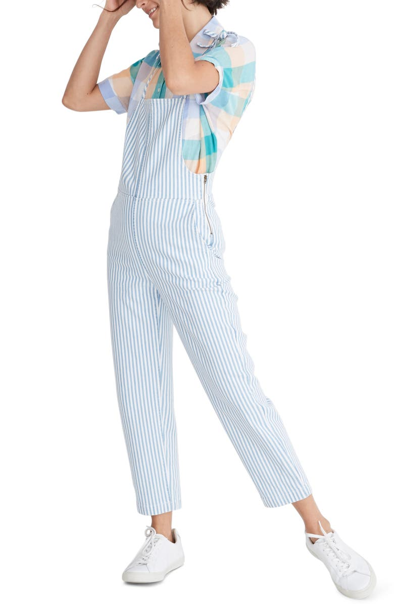 MADEWELL Railroad Stripe Tie Strap Overalls, Main, color, HERRINGBONE RAILROAD