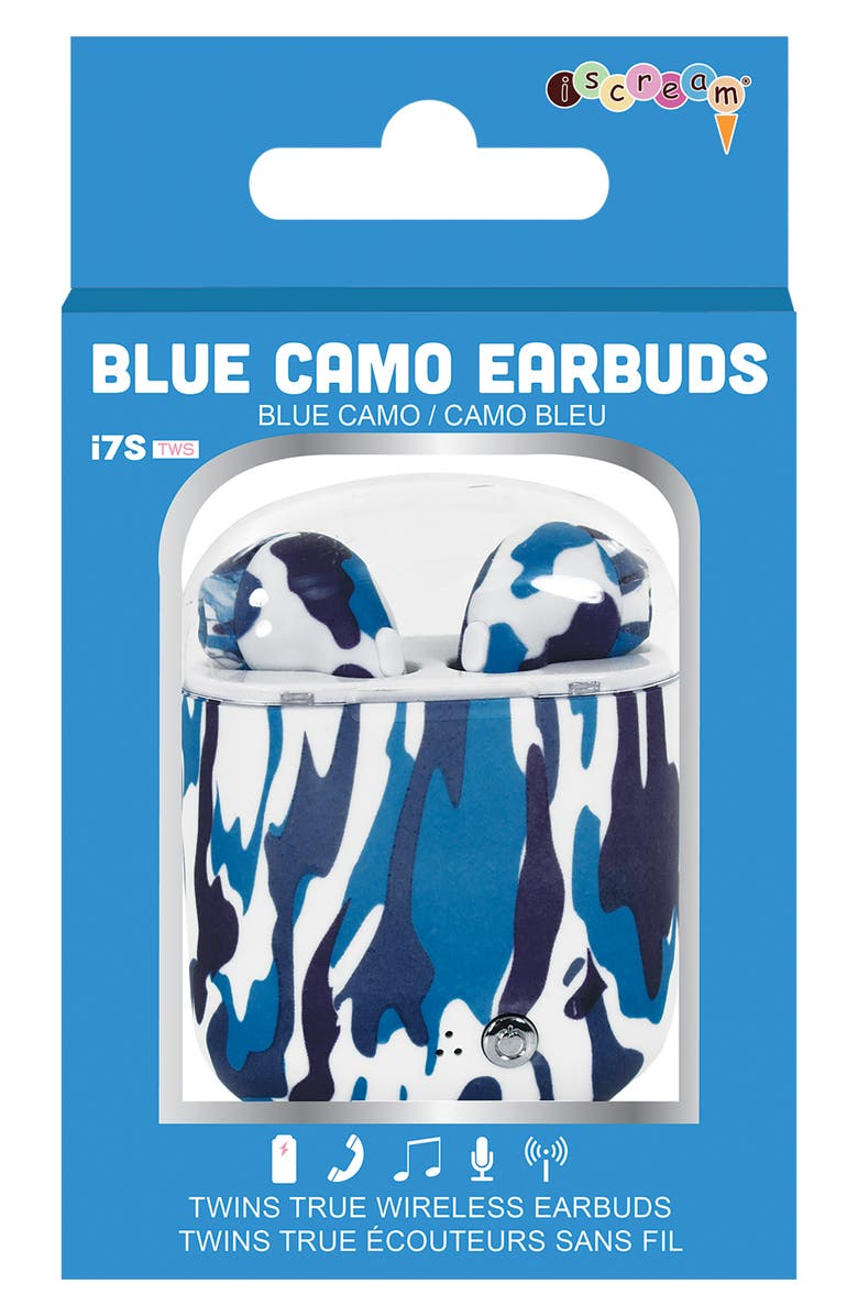 ISCREAM Blue Camo Wireless Ear Buds with Charging Case, Main, color, BLUE