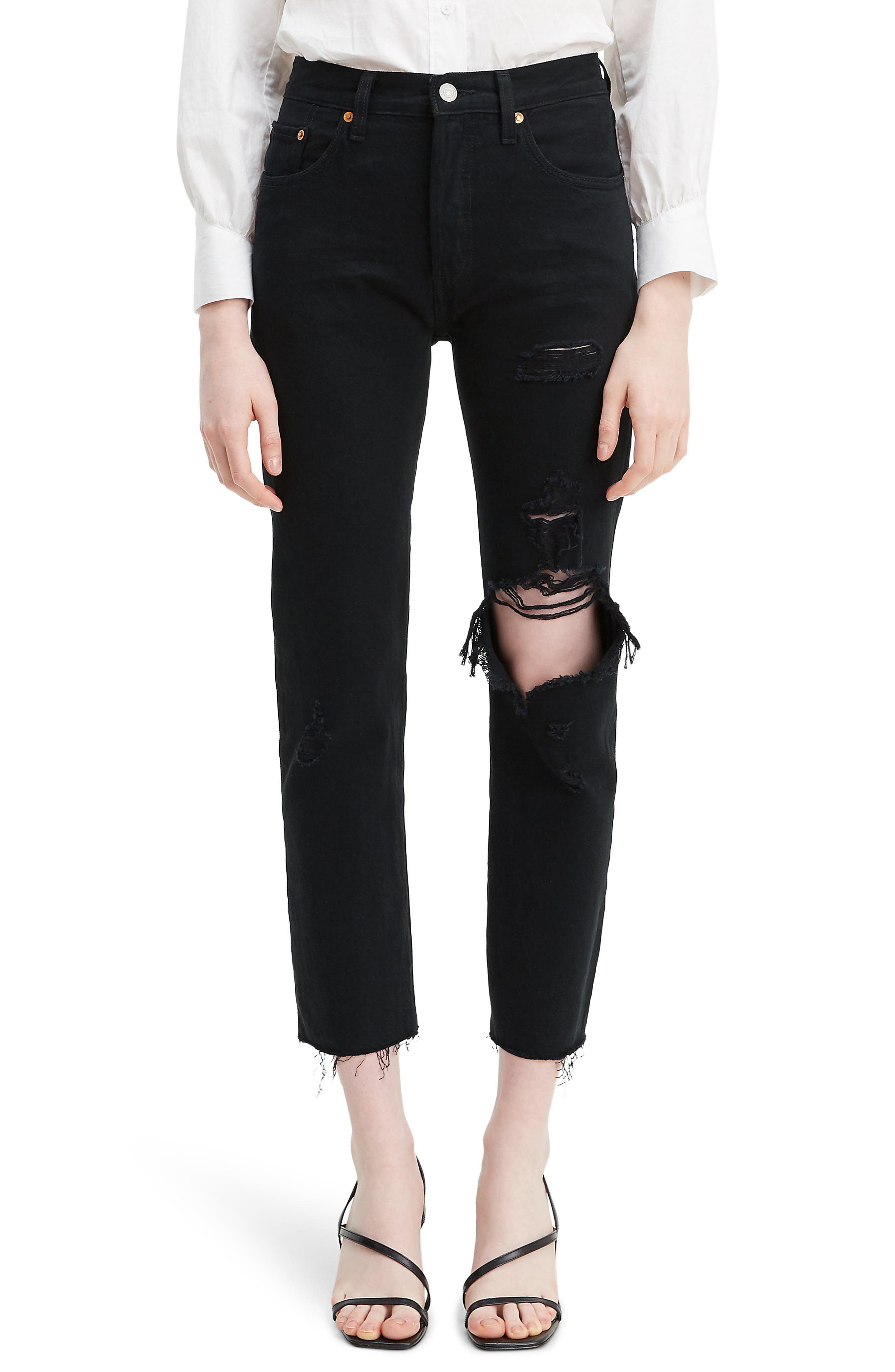 Women's Levi's 501 High Waist Ripped Crop Straight Leg Jeans,  30 x 26 - Black