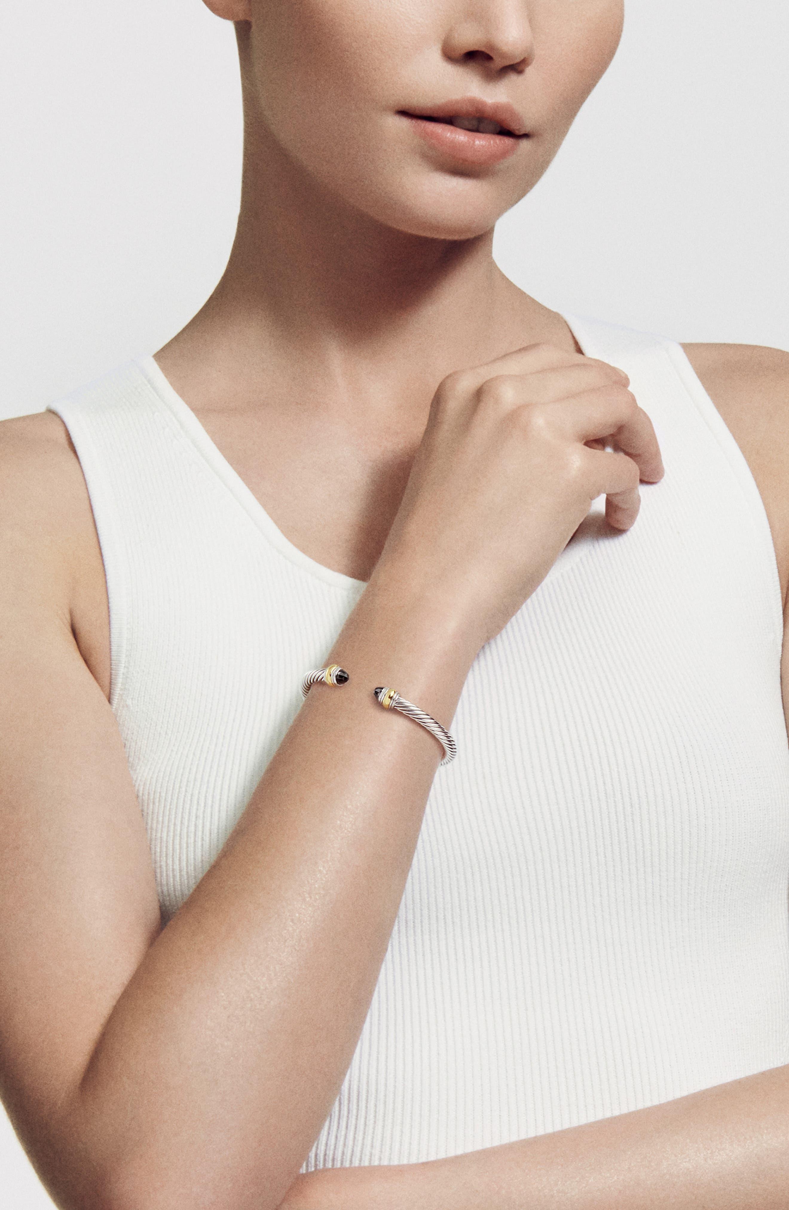 ,                             Cable Classics Bracelet with Semiprecious Stones & 14K Gold Accent, 5mm,                             Alternate thumbnail 2, color,                             BLACK ONYX