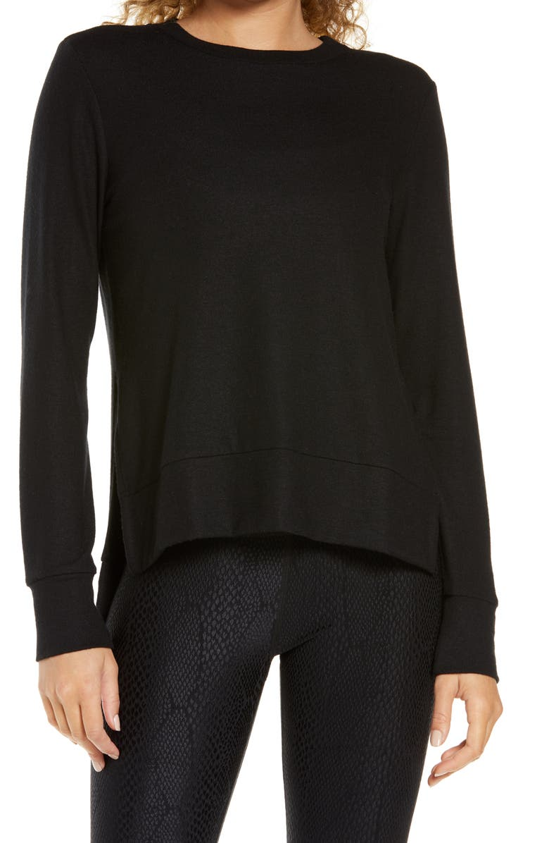 BEYOND YOGA Just Chillin' Pullover, Main, color, BLACK