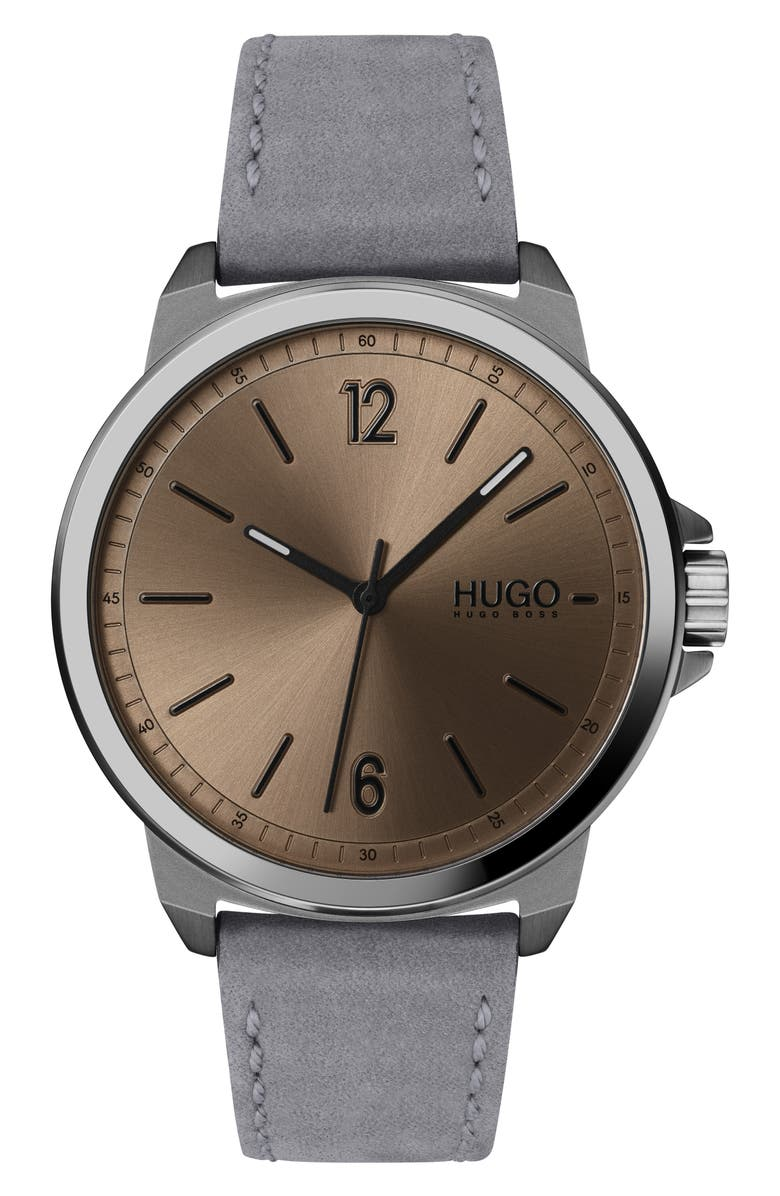 HUGO Leather Strap Watch, 42mm, Main, color, 021