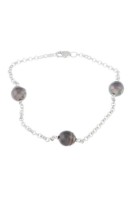 Image of Splendid Pearls Rhodium Plated Sterling Silver 9-10mm Tahitian Pearl Station Wrap Bracelet